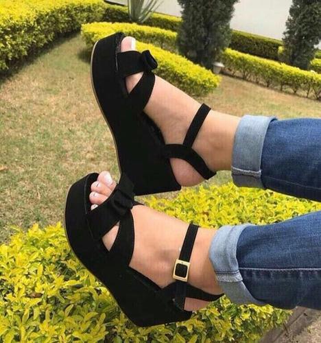 sandalias negras  plataforma bajita compralas mercado libre