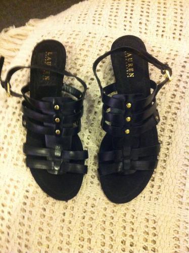 sandalias negras ralph lauren 100% original