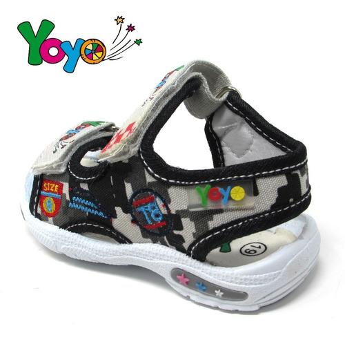 sandalias niños marca yoyo s1007 gris 19-24. envío gratis