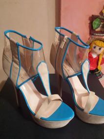 Zapatos Tacon Bajo Fiesta Sandalias En Mujer Azules De eodCxB