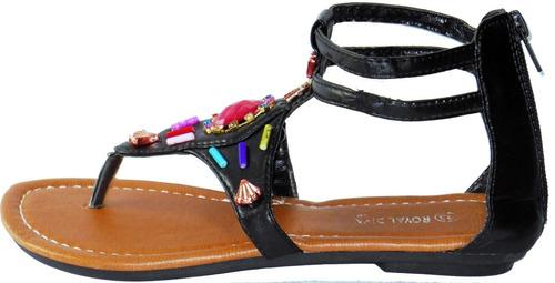 sandalias para niñas chicas tacón bajito en cuero cocidas