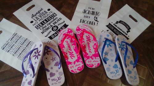 sandalias personalizadas con bolsitas de regalo