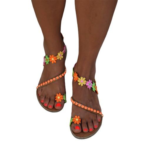 Boho Flores Sandalias Con Cuentas Moda Dama Pequeñas Planas b7v6yYfg