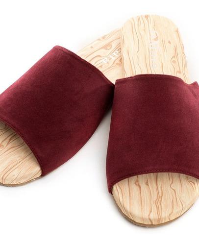 sandalias planas color vino - mata