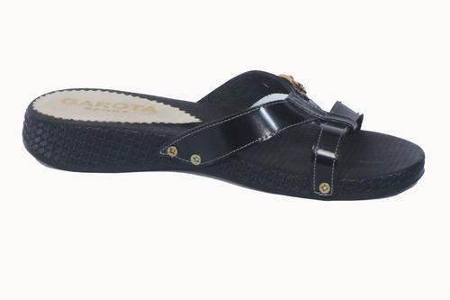 sandalias planitas 100% cuero vacuno color negro