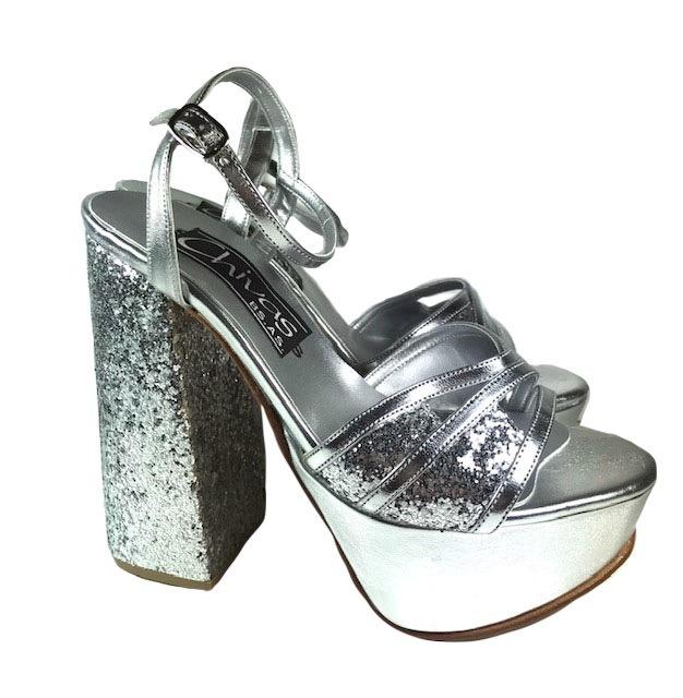 Gratis 4085Envío Plata Fiestaton Sandalias Brillos Mujer S4RqA3c5jL