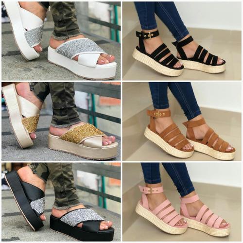 sandalias plataforma altas de dama colombianas