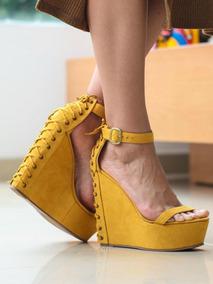 Moda Dama Colo Gamusa Calzado Plataforma Trenzadas Sandalias LR5q4jc3A