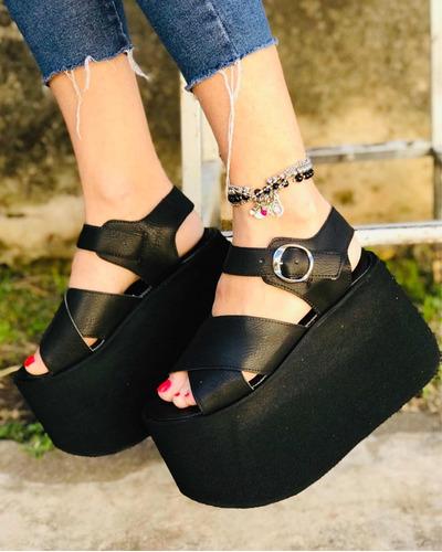 sandalias plataforma goma eva cuero verano livianas zapatos