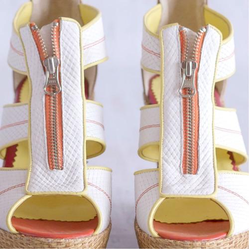 sandalias plataformas cuero reptil blanco suela rafia chino
