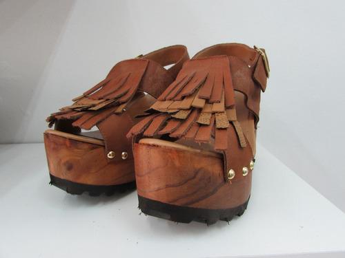 sandalias plataformas zuecos 100% cuero trenzado cruzadas