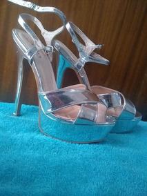 Plataformas Plateadas 38 Hermosas Sandalias Zapatos Tacones 80wPXNnOk