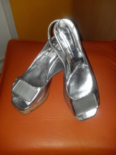 sandalias plateadas numero 38