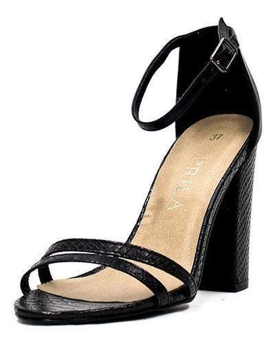 sandalias prila ebony tacón grueso - negro