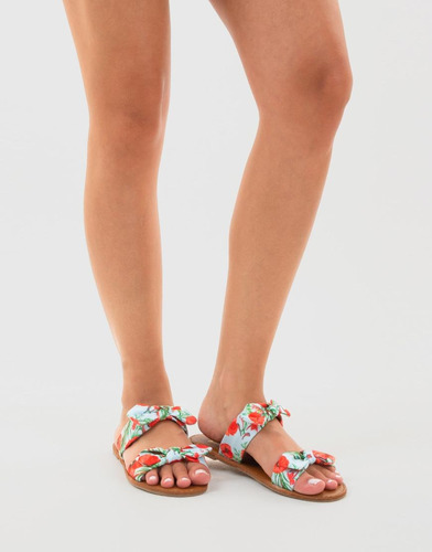sandalias rojas floral doble correa