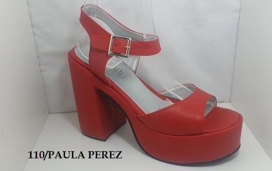 Art J1 00 110 Paula Perez 399 Rojas En Plataforma Sandalias TFlK1J3c