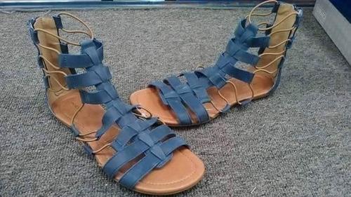 sandalias romanas azul piel nuevas marca andrea talla 26