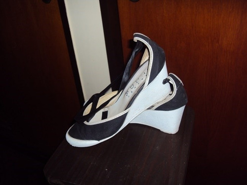 sandalias taco chino -  lona azul oscuro y tiras de seda