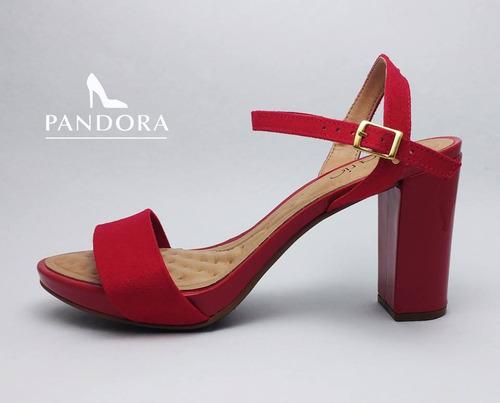 sandalias taco medio beira rio color rojo