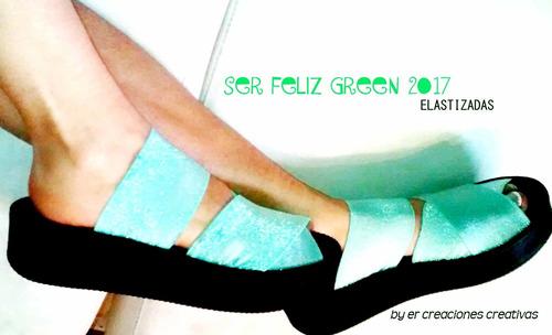 sandalias verano green con tiras elasticas modelo  ser feliz