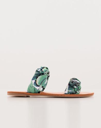 sandalias verde floral doble correa