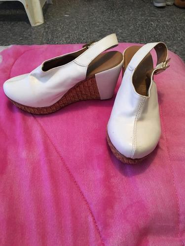 sandalias wedge zapatillas altos blancos zapato guante piel