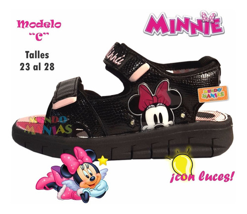 sandalias zapatillas disney minnie luces addnice mundomanias