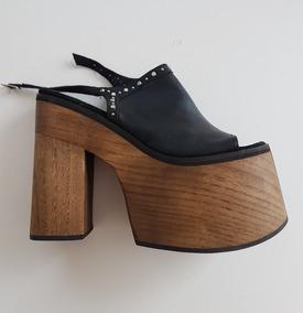 Plataforma Zapato Talle Madera Sandalias 40 Cuero De Mujer EI9WH2DY