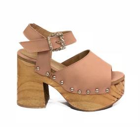 c265f7f2c Zapatos Cuero Mujer Plataforma Madera Taco Sandalias - Sandalias y ...