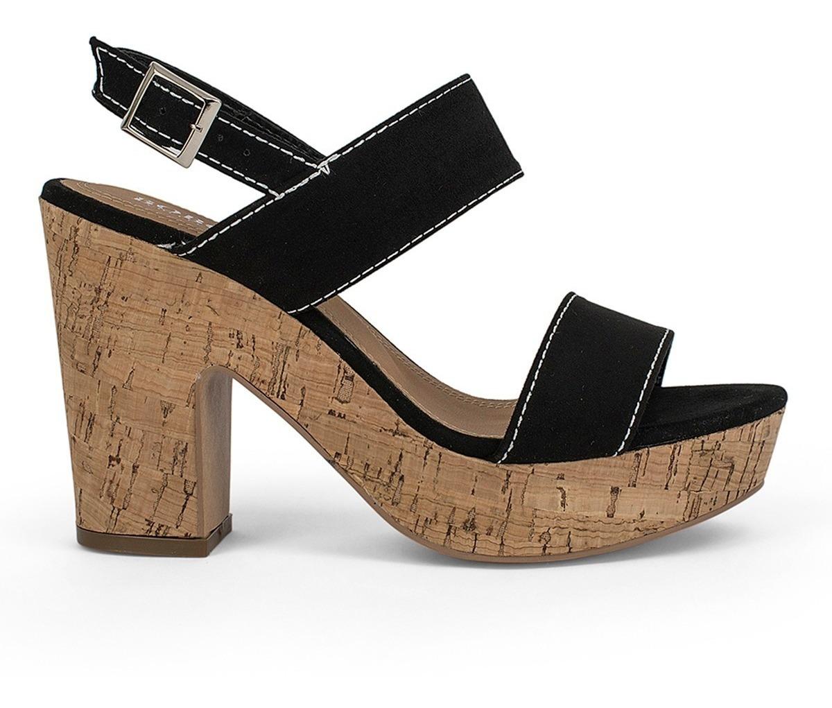 buscar auténtico gran selección venta usa online Sandalias Zapatos Dama Abiertos Tacon Corcho Negros 9116