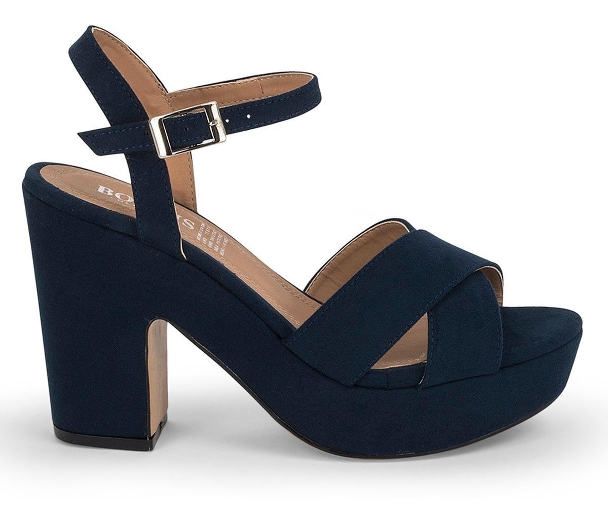 Tacon Abierto Zapatos Cruzado Sandalias 9107 Grueso Azul 6vIf7gbYy