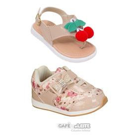 Sandália+tênis Bebe Infantil Feminina (kit Com 2 Pares)