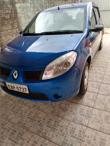 sandero, ano 2008, ipva 2020 pago, 8v, 1.6 v, cor azul