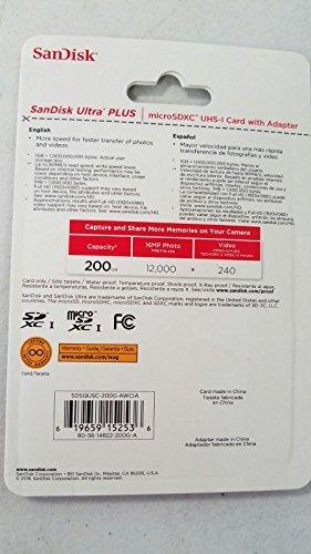 sandisk 200 gb ultra plus tarjeta micro sdxc uhsi con adapta