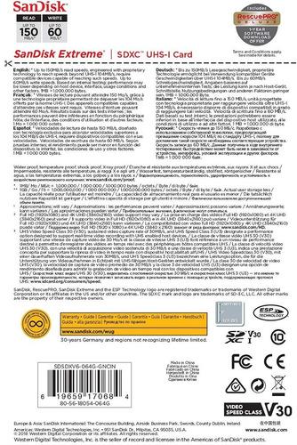 sandisk extreme 64gb sd 4k clase 10 u3. envío gratis