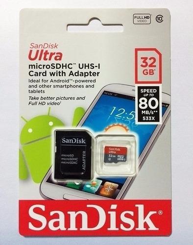sandisk memoria micro sd 32gb ultra clase 10 80 mb/s