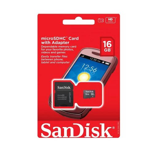 sandisk memoria micro sd hc 16gb clase 4 adaptador sd sdsdqm
