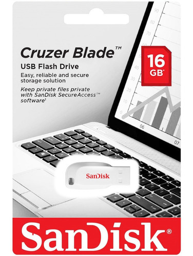 sandisk memoria usb 2.0 cruzer blade 16gb blanca sdcz50c