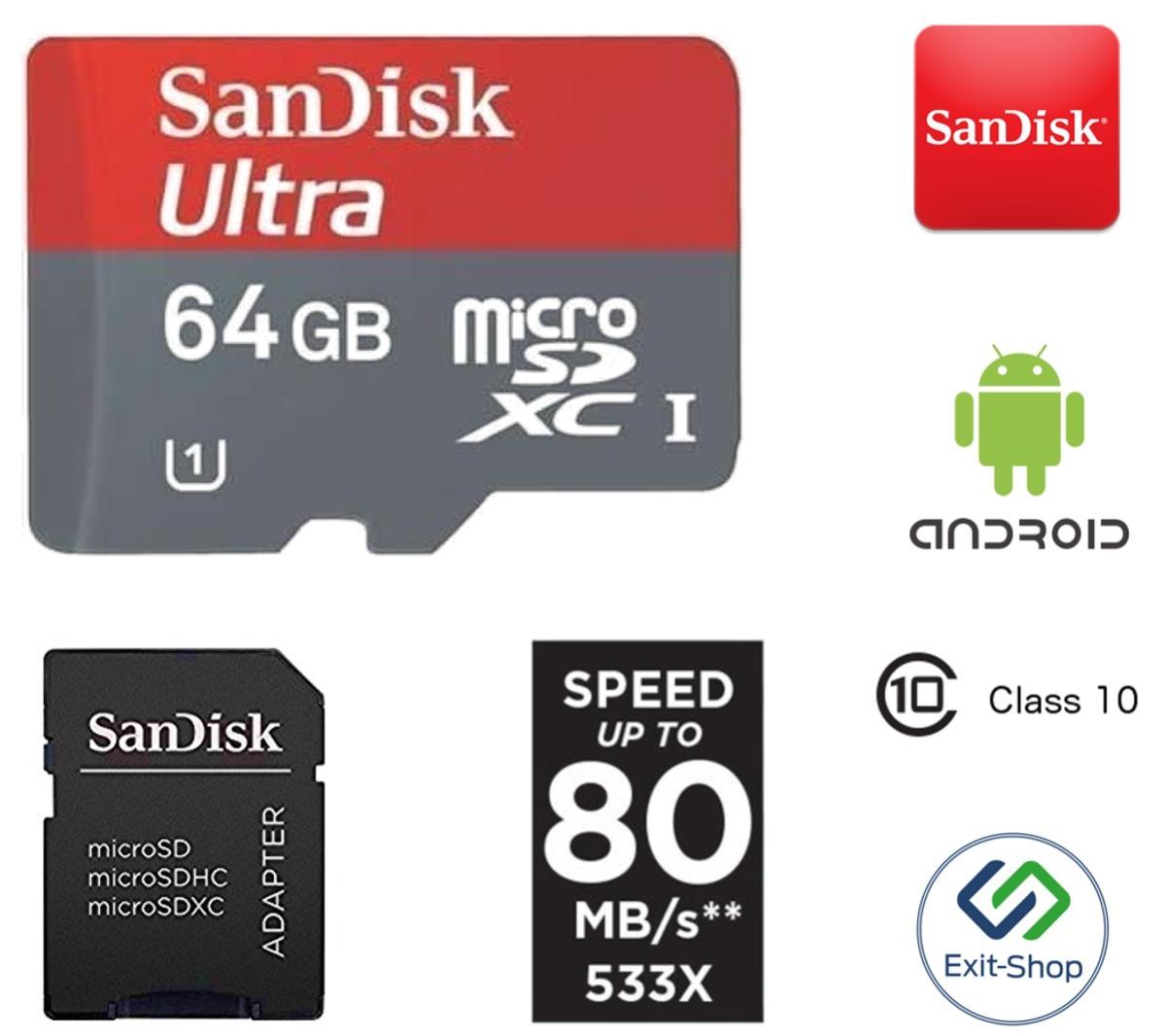 Sandisk Micro Sdxc 64gb Ultra Sd Class 10 80mb S Lacrado 12x R Microsd 80 Mbps 64 Gb Carregando Zoom