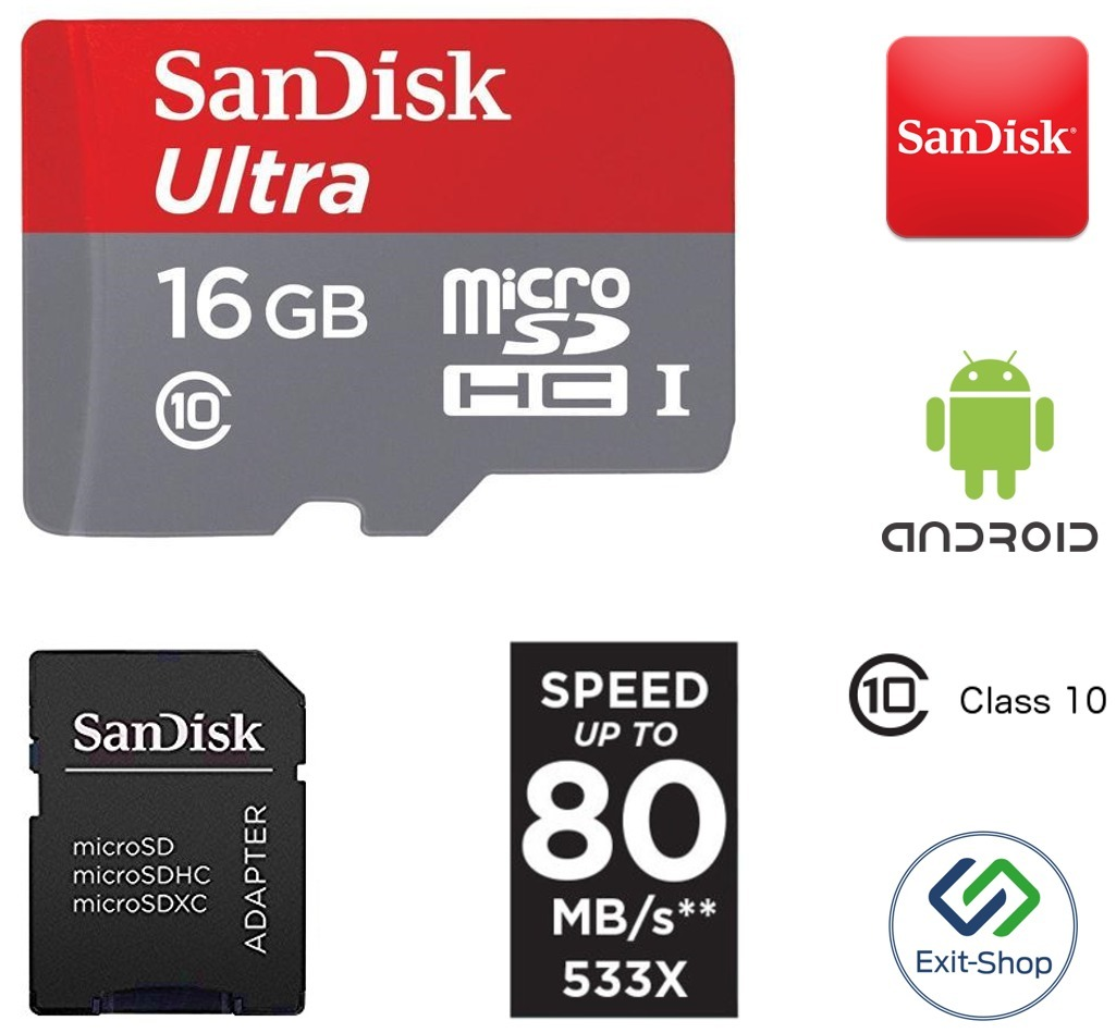 Sandisk Ultra 16gb Micro Sdhc Uhs I Classe 10 80mb S R 39 Sd Class Memory Card Carregando Zoom