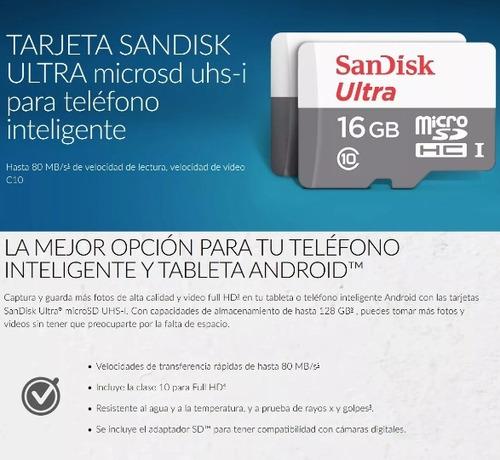 sandisk ultra, tarjeta micro sdhc 16gb uhs l 80mb/s