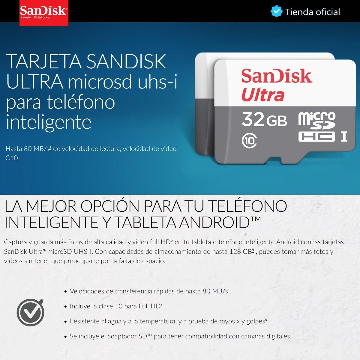 Sandisk Ultra Tarjeta Micro Sdhc 32gb Uhs I C10 80mb S Cargando Zoom
