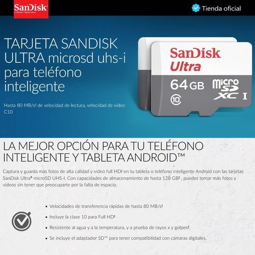 sandisk ultra, tarjeta micro sdxc 64gb, uhs-i, c10, 80mb/s