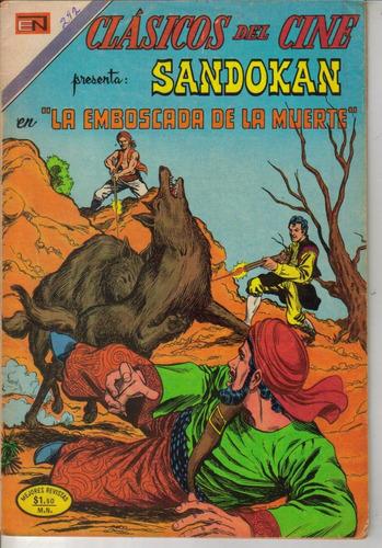 sandokan en comic clásicos del cine no.292 novaro año-1973