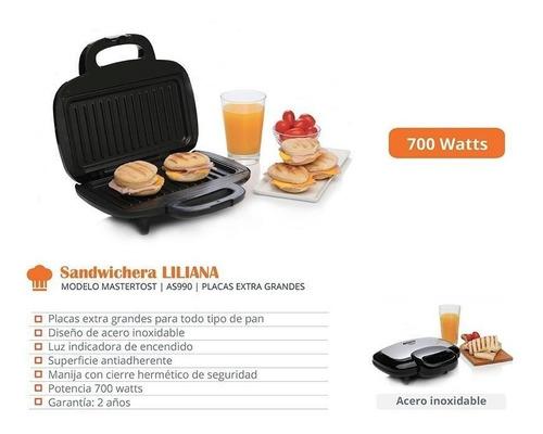 sandwichera liliana mastertost as990 placas extra grande