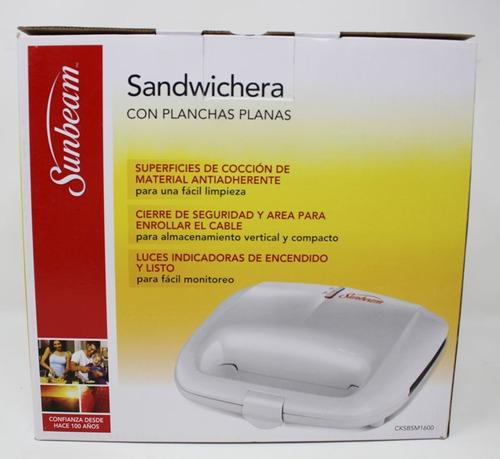 sandwichera plancha plana blanca sunbeam cksbsm1600-013