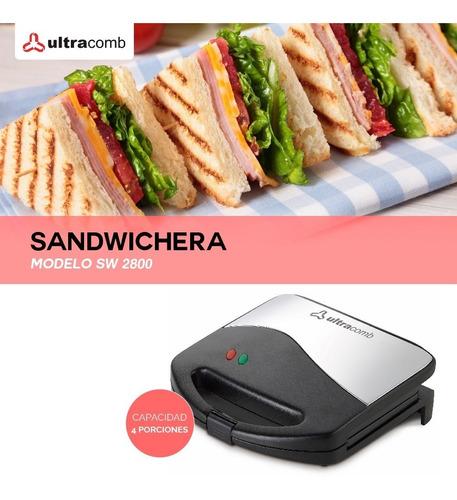 sandwichera ultracomb tostadora 4  antiadherente sw-2800 pc