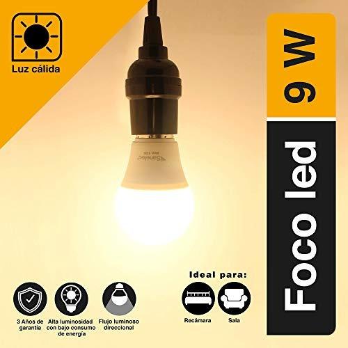 sanelec 1326 foco tipo a19 led 9 w, luz cálida
