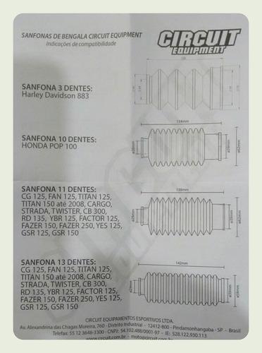 sanfona bengala 18 dentes moto dt bros xtz xl 125 circuit