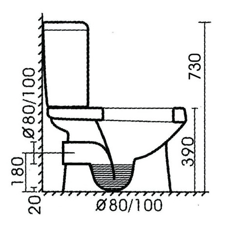 sanitario / wc salida horizontal tafel - wasser